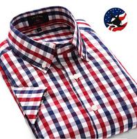 2014 Summer Sale Luxury Party Men Casual Shirt/Designer Cotton Men Short Sleeve Shirt/Vintage Style Plaid Men Short Sleeve Shirt