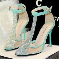 3 Colors women banquet t bling rhinestone belt thin heels pointed toe transparent cutout sandals