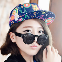 Korea New Style Cotton Fashion Old Style Retro Nations wind Printed Paint Flower Colorful Hot Baseball Cap Hats Boys Girls