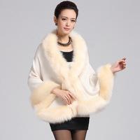 Fashion Autumn wintercoat women faux fur shawl cape coat