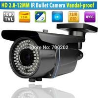 Long Distance 60M 72IR Varifocal Video Surveillance Security CCTV IR Bullet Outdoor Camera Vandalproof 2.8-12MM Lens + OSD MENU