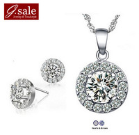 GS Brand Set-11 2014 new necklace & round shiny drop earrings sterling silver jewelry fashion ladies'  wedding  jewelry sets
