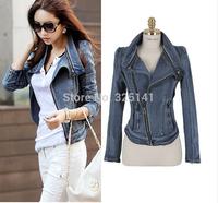 2014 new brand women's vintage denim jacket denim jacket denim jacket Women Long Slim female long-sleeved S / M / L / XL