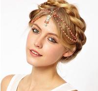 2014 New Arrival Fashion Design Gold Tassel Head Chain Hair Jewelry Bead  Hair Accessories For Girl Women