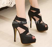 2014 Korea new shoes Roman cross elastic waterproof high-heeled shoes, fish head sandals free shipping XG233