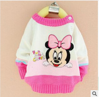 New 2014 Girl Dress Baby Sweater Children Sweater Girls Cardigan Pink Color Fashion Beauty Girl's Clothing
