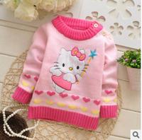 Cartoon long-sleeved sweater 2014 new hello kitty knitwear children's clothing kids wear girl's tops
