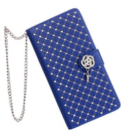 2014 New Flower Diamond Bling Flip Leather Case For Xperia Z1 L39h Crystal Handbag Wallet Phone Cases Cover with Chain
