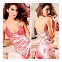 Hot 2014 Dot Sex Lace Cute Sexy Lingerie Fantasia Erotil Pajamas Underwear Costumes Sleepwear Dress Set For Women Free Shipping
