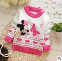 2014 new children's minnie mouse sweater MINNIE kids sweaters baby girls cartoon cardigan tshirt girls wear