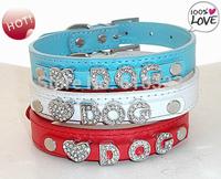 Wholesale 20pcs/lot PU Leather Pet Dog Collar Fit for 10mm slide letter & slide charm