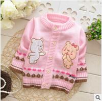 Retail girls sweater baby girl warm Knitwear children bottoming cartoon for girl autumn and winter child wear