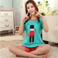 2014 summer couple pajama set for women cotton short sleeve