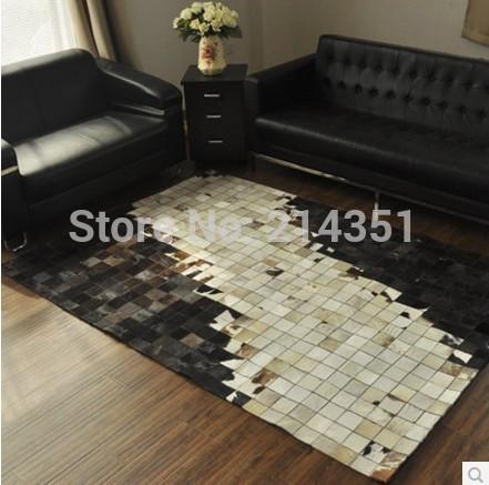 Luxe koeienhuid gefelst tapijt moderne natrual milch koeienhuid checker tapijt voor woonkamer - Slaapkamer decoratie volwassenen ...