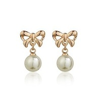 10pairs Italina Red Apple alloy plated K gold pearl stud earrings earring gift for Wedding anniversary Valentine lover
