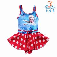 New HOT 1pcs/lot Frozen Bathers Kids Girls One Piece Dress Swimwear Elsa Swimsuit Children's Beach Wear Bathing Suit
