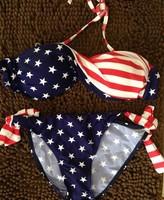 Free shipping swimsuit swimwear Women Sexy bikini STARS STRIPES USA Flag PADDED TWISTED BANDEAU swim suit tube swim wear