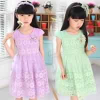 New Arrivals 2014 summer children's clothing girls party dress sweet princess virgin veil performances customes