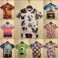 (alice)Harajuku women's 3D funny t-shirts print dog/ice cream/cartoon Monsters University tee shirts female summer tops female