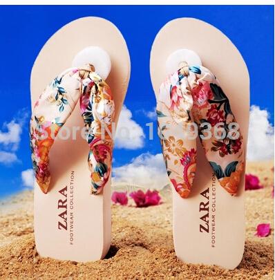 2014 nova Top venda mulheres Casual Wedge sandals nova verão BOHO flip flops praia chinelos sapatos(China (Mainland))