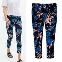 2014 New arrivals Ladies' elegant vintage floral print pants cozy trousers side zipper  pants casual slim brand design pants