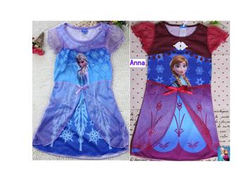 2015 Princess Elsa dress girls sleepwear kids night gown queen nighty girls summer nighties