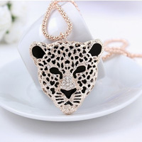 """Cheetah"" Austrian Crystal Pendant Long Necklace 18KGP Rose Gold Plated Women's Designer Sweater Chain Free Shipping (CN057)"