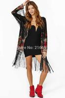 2014 new fashion Europe women elegant vintage flower printed jacket coats long sleeve casual kimono outerwear #J074