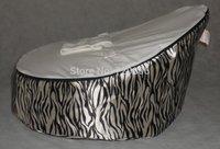 Free shipping fashion zebra with white baby seat, high quality waterproof cartoon fur baby beanbag sofa chair, baby feedingchair