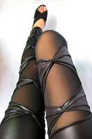 women faux leather patchwork leggings punk rock black sheer mesh bow legging sexy jeggings stretch skinny leggings Hot Sale New