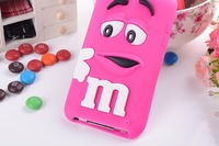 Hot Item Lovely M&M Chocolate Case Colorful Back Defender Rainbow Beans Cover for Apple iPhone 4,4g 4S,5,5g 5s Free Shipping