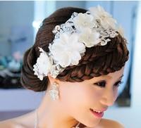 2014 Hot Selling Handmade White Flower Design Rhintestone Lace Bridal Headpiece Wedding Jewelry