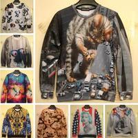 2014 New Fashion Men/Women's brand 3D Hoodies Retro Palace Goleden Flowers Printing Animal 3D sweatshirts Free Shipping