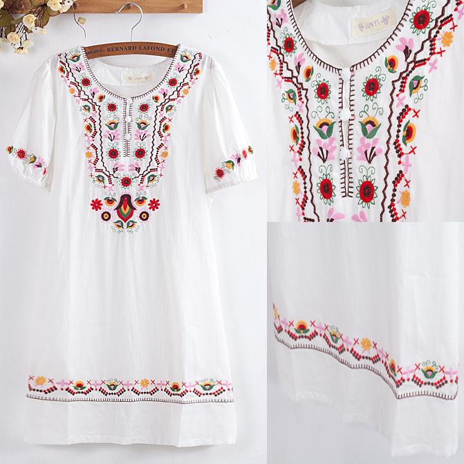 Verão mulheres vestido do Vintage Top 70 s Crochet bordados Mori menina blusa 100% algodão branco Mini vestido vestidos roupas femininas Top(China (Mainland))
