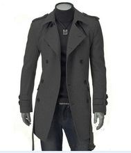 2014 new winter fashion boutique male trench coat / Men's casual long double-breasted dust coat(China (Mainland))