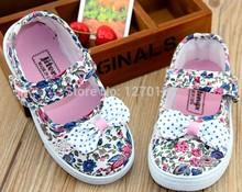 2014 nuevos zapatos de lona ligeros transpirables zapatos cómodos plaza boca zapatos de lona floral para las niñas(China (Mainland))