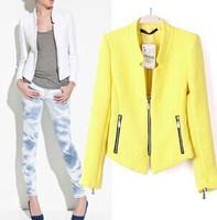 Spring 2014 New Autumn Fashion Women 2014 Clothes silm stand collar zipper coat blazer jackets women coat