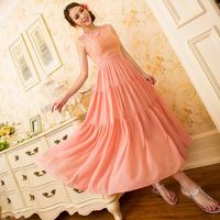 free shipping 2014 summer new women  Bohemian long dress little fresh sweet white lace chiffon dress