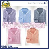 Polo Men plaid shirt 100% cotton long-sleeve wonderful feel lil horse logo pink Sky Blue Navy Blue Orange Black Color