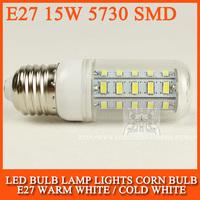 10PCS Ultra bright new SMD 5730 15W E27 LED 220V 230V 240V corn bulb lamp, 36LEDs, Warm white / Cold white 5730SMD led lighting