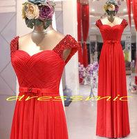 2014 New Red Evening Dresses Perfect Long Evening Dress Sweetheart A-line Beading Appliques Chiffon QB-49