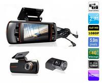 New F90 Dual Lens Car DVR w/G-Sensor Full HD 1920x1080p 20FPS 2.7' LCD/HDMI/External IR Rear Camera/Allwinner CPU