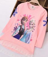 High quality kid frozen princess elsa anna girls long sleeve aumtumn t shirt top