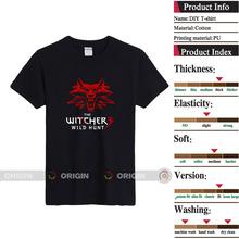 2014 boa venda no mercado russo Witcher caça selvagem algodão padrão top o pescoço esportes do homem T-shirt de alta qualidade grátis frete(China (Mainland))