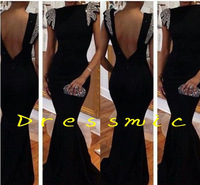 Hot Sale Long Black Prom Dresses Sexy Floor-length Long Silk Mermaid Formal Dress Homecoming Dress 2014 Clothing