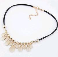 lynx-stones Luxury waterdrop golden planted choker necklaces & pendants lady women jewelry JZ126