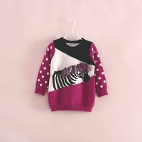 2014 autumn new fashion brand children girls 3D zebra dot sweater pullovers 2-7 years
