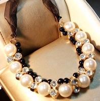 Super star Luxury pearl choker statement necklace chunky pendant & necklace women lady jewelry JZ138