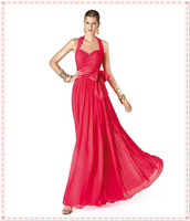 2014 Evening Dresses Halter Elegant Fuchsia Chiffon Ruched Sash Ankle Length Party Dresses New Style Women Fashion