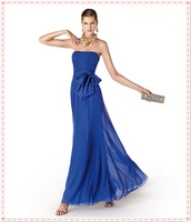 2015 Evening Dresses Strapless Elegant Blue Chiffon Ruched Sash Ankle Length Party Dresses New Style Women Fashion
